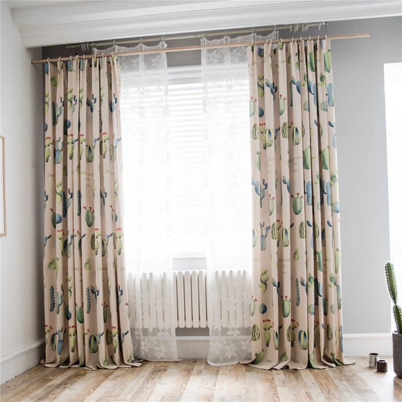 US $22.99 |European style New Blackout Cactus print Curtain Living Room  Printed Drapes Bedroom Kitchen Balcony Pastoral Fresh Sheer Window-in  Curtains ...