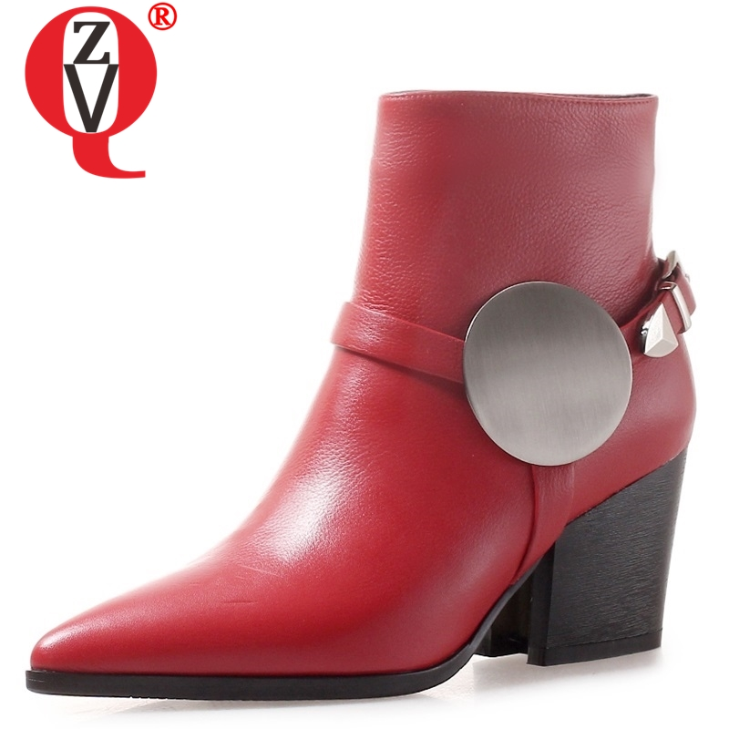 ZVQ hot sale 2018 newest fashion high hoof heels pointed toe zip metal decoration women shoes winter genuine leather ankle bootsZVQ hot sale 2018 newest fashion high hoof heels pointed toe zip metal decoration women shoes winter genuine leather ankle boots