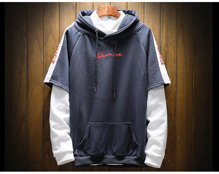 Cool Mens Fake Two Pieces Zip Up Hoodie Long Sleeve Cotton