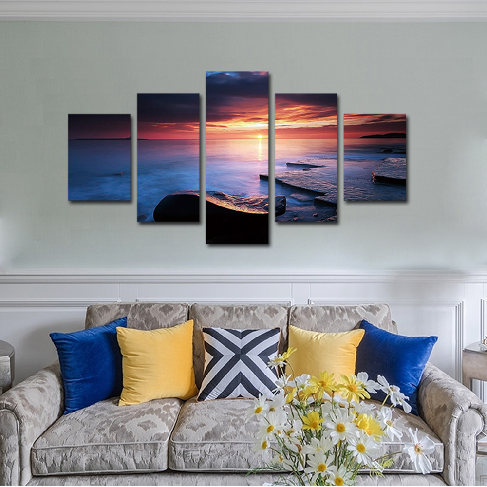 Unframed Canvas Painting Colorful Clouds Sea Level Coastal Photo Picture Prints Wall Picture For Living Room Wall Art Decoration