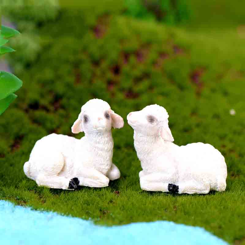 2 Pcs Cute Little Sheep  Moss Micro Landscape Terrarium Figurine Decoration Resin Funny Babies Ornament Fairy Garden Miniature