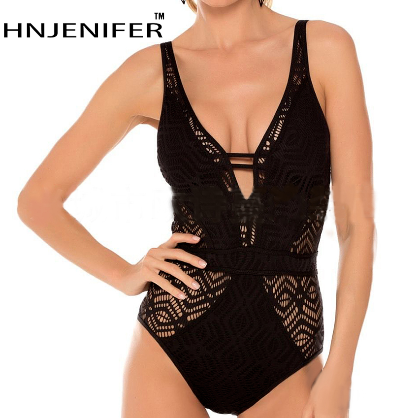 sexy cheap brand vintage solid lace solid black white backless deep v girl one piece wire free cute women swimwear new swimsuit sexy u neck solid color one piece backless women s swimwear