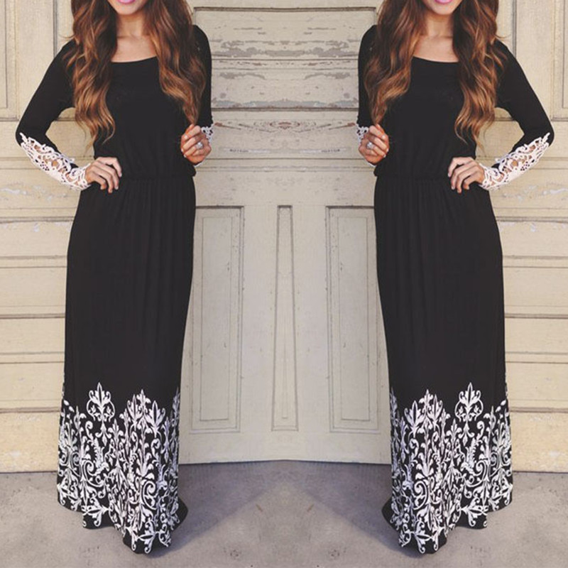 2018 Elegant Women Ladies Boho Printing Long Lace Sleeve Hollow Out Floor Length Party Prom Black