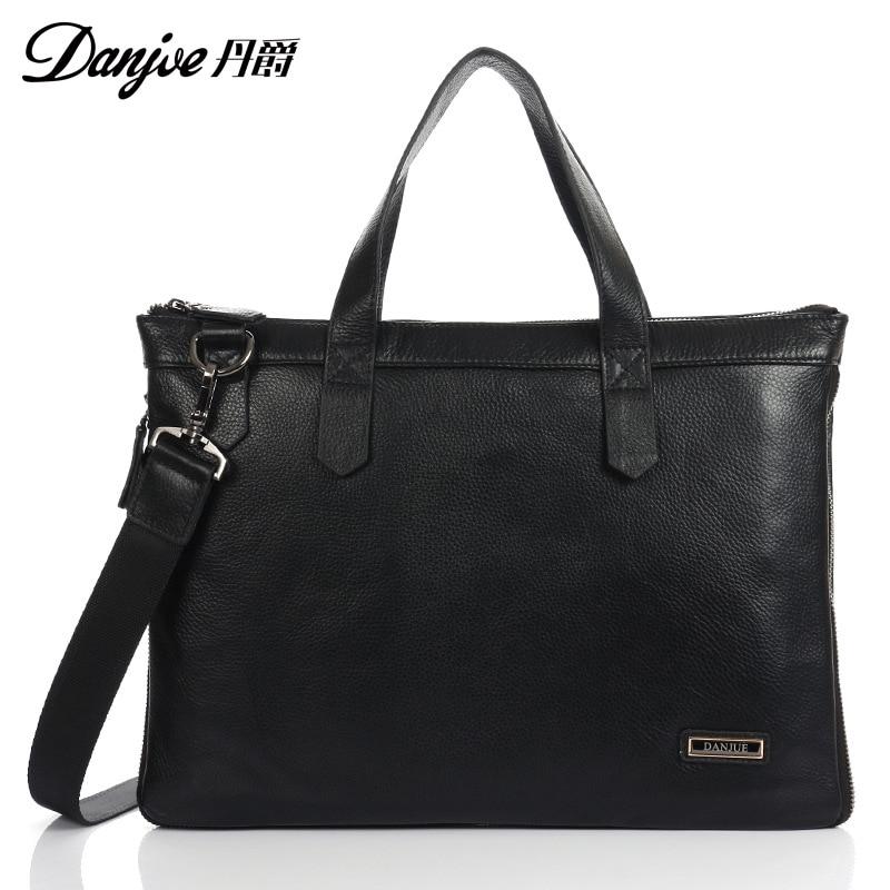Фотография DANJUE Genuine Leather Handbag Classic Black Briefcase Male Messenger Bag Leather Business Bag New