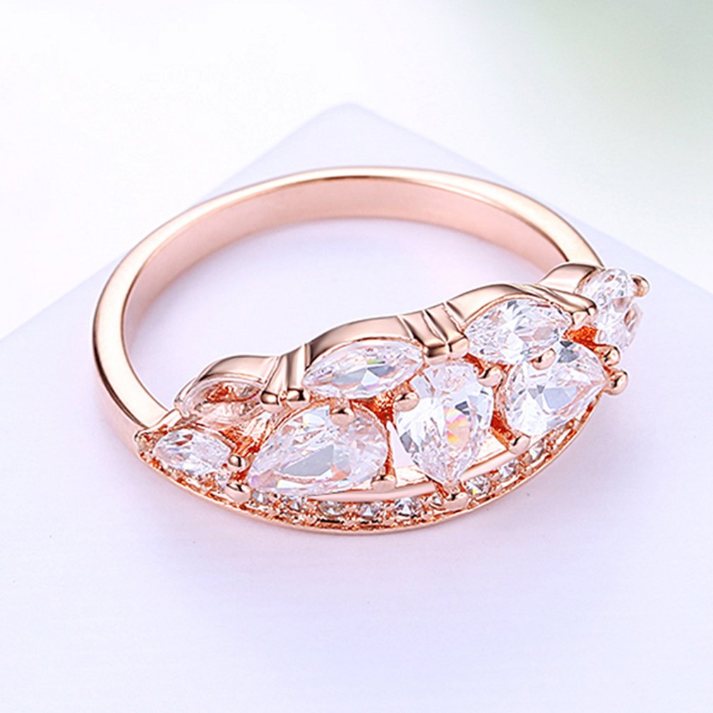 Geometry Shape Zircon Decoration Rose Gold Female Wedding Ring Women ...
