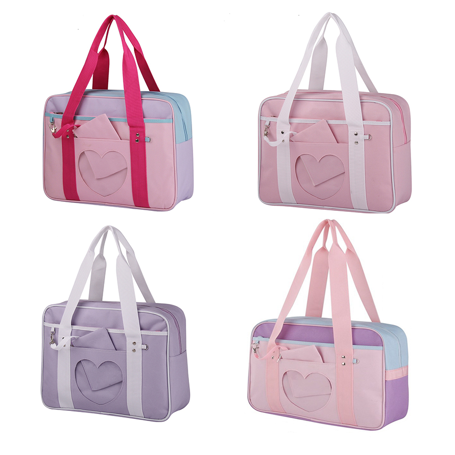 Japanese Student Bag Heart Window Girl Pink Bag JK Commuter Bag Briefcase Bookbag Travel Messenger Bag Handbag
