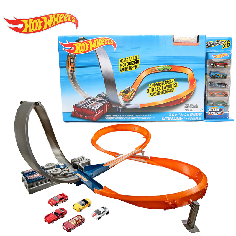 electronic hot wheels track exclusive figure 8 raceway with 6 cars motorized 3 track layouts. Black Bedroom Furniture Sets. Home Design Ideas