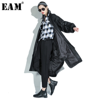 EAM 2018 New Spring Long Sleeve Solid Color Black PU Leather Jacket Female Embroidery Loose