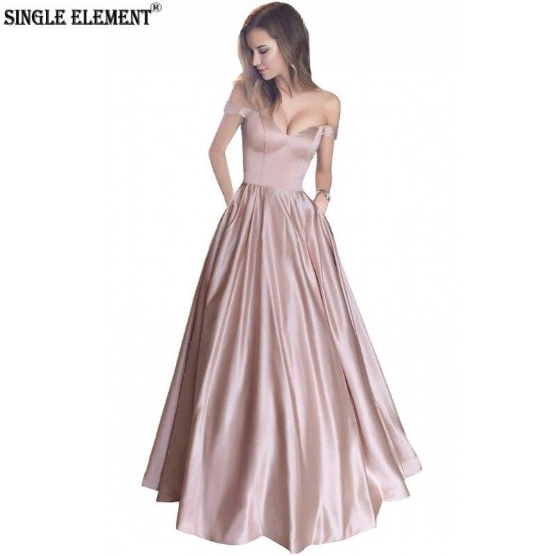SINGLE ELEMENT Simple Off Shoulder With Pocket Satin Bandage Back Long Bridesmaid Dresses