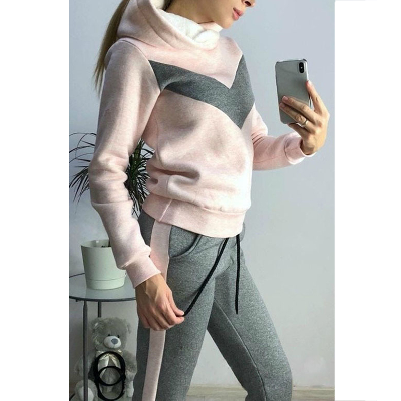 Women's Winter Sportswear Casual Fleece Hip Hop Two-piece Set Long Sleeve Streetwear Top And Pants Tracksuit Hoodies SJ3612E