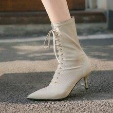 бренд дизайн эластичный носки сапоги мода шнуровке кожаные ботильоны Челси для женщин острым носом на высоких каблуках черные насосы
