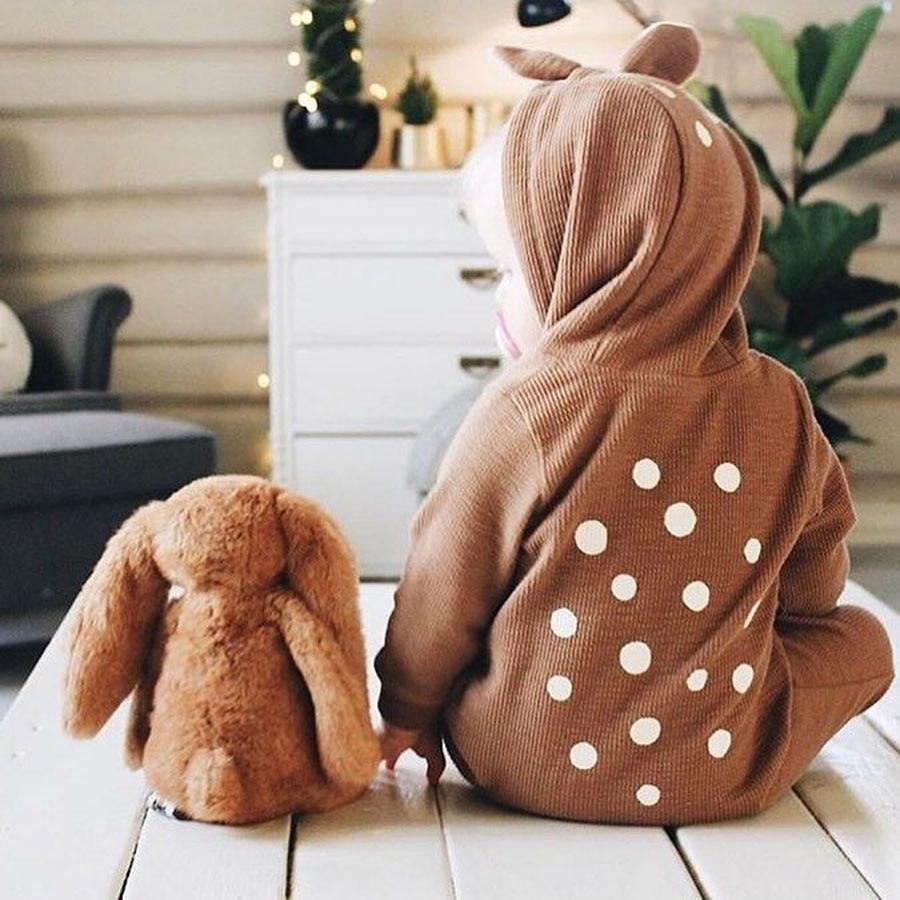 Leuke Animal Bear katoen pasgeboren lange mouw Baby rompertjes terug - Babykleding - Foto 3