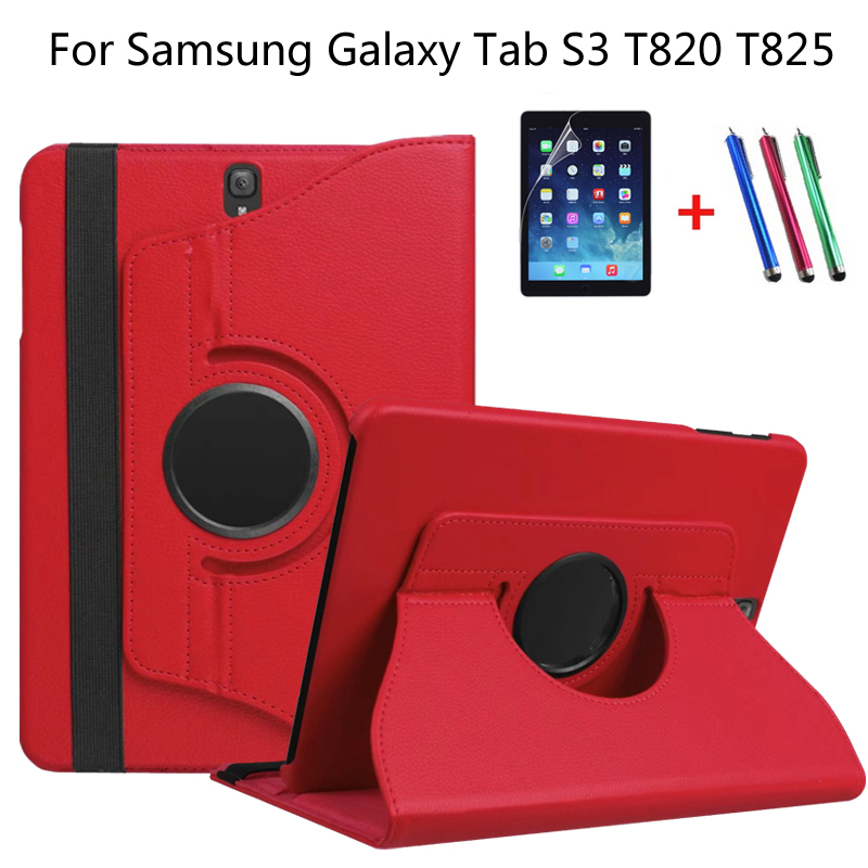 360 Degree Rotating Litchi Folio Stand PU Leather Skin Case Cover For Samsung Galaxy Tab S3 T820 T825 9.7 inch Tablet +Film+Pen luxury flip stand case for samsung galaxy tab 3 10 1 p5200 p5210 p5220 tablet 10 1 inch pu leather protective cover for tab3