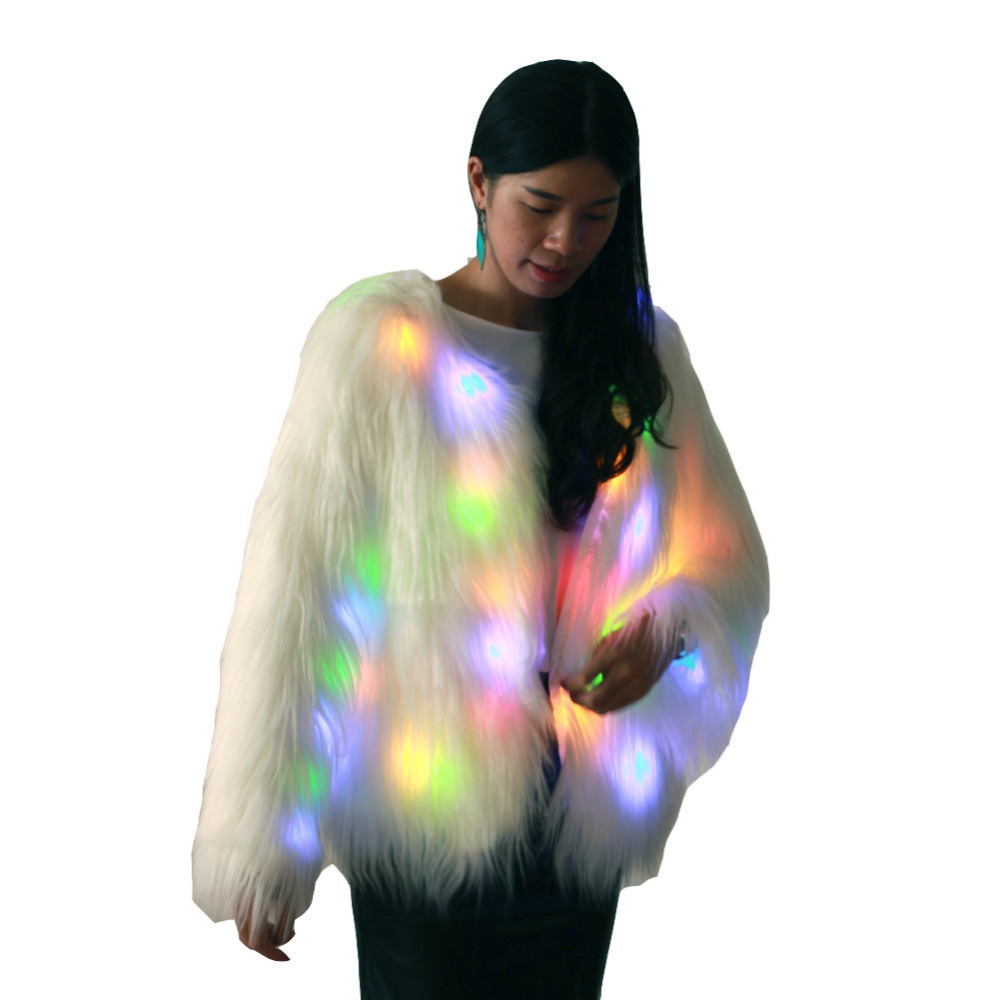 Frauen Mode LED Light Luminous Faux Pelzmantel Jacke Xmas Party Kostüm Outwear