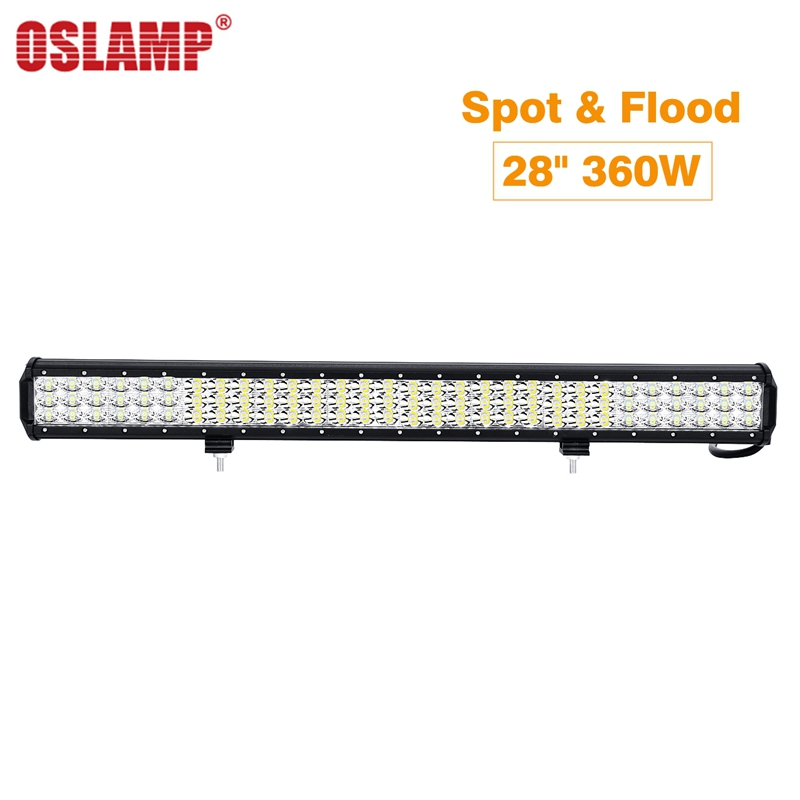 Oslamp Work Light 28inch 260W Triple Row LED Light Bar Offroad Combo Beam 12v 24v For 4x4 4WD SUV ATV RZV Trailer Truck LED Bar oslamp 52 500w led offroad light bar cree chips combo beam led work light for jeep truck atv suv pickup 4wd 4x4 led bar 12v 24v