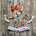 2016 meninas roupas de bebê crianças Outono Inverno rendas floral impressão vestido listrado boutique manga comprida com colar combinando e arco conjunto
