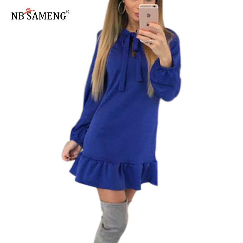 2017 Autumn Winter Women Long Sleeve Ruffles Bow Sexy Casual Party Mini Dress A-Line Vintage Des Festa Casual Mini Vestidos