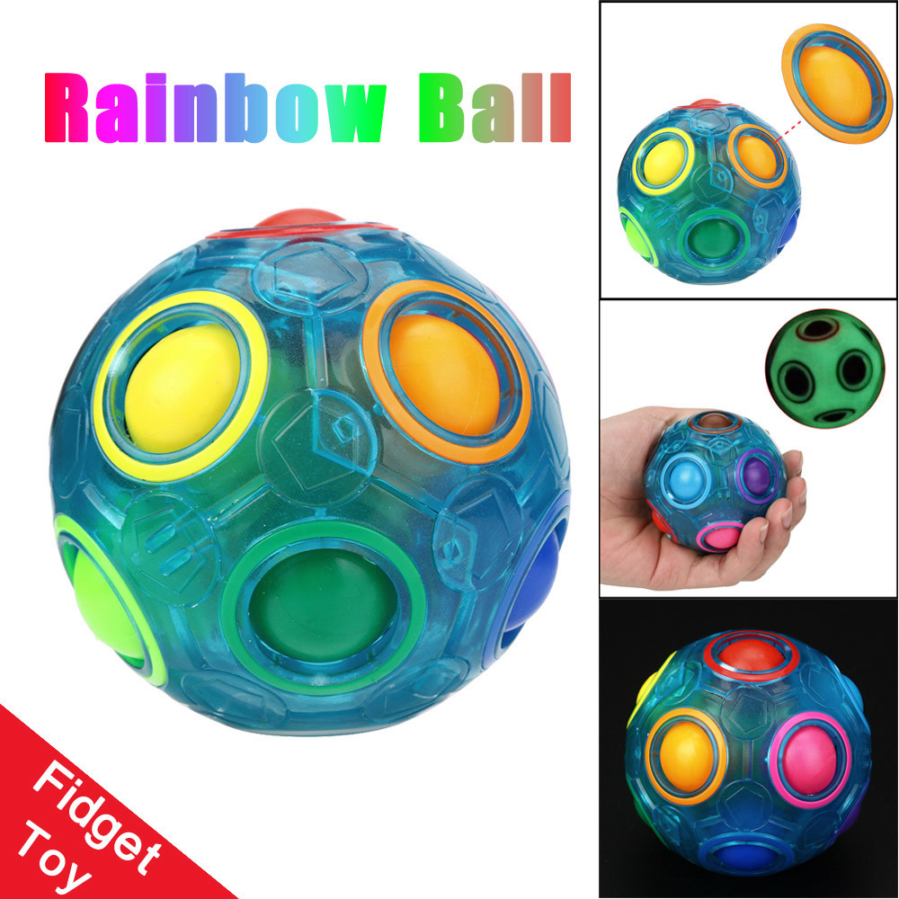 Luminous Stress Reliever Magic Rainbow Ball Fun Cube Fidget Puzzle Education Toy For Kids Adults Fidget Toy Puzzle Toy Dropship