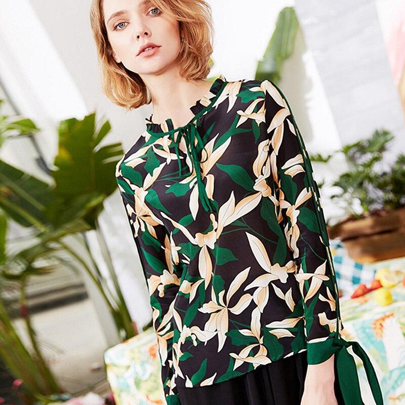 100 Silk Blouse Women Shirt Printed Vintage Design Tie Ruffles O Neck Nine quarter Sleeves Pullover