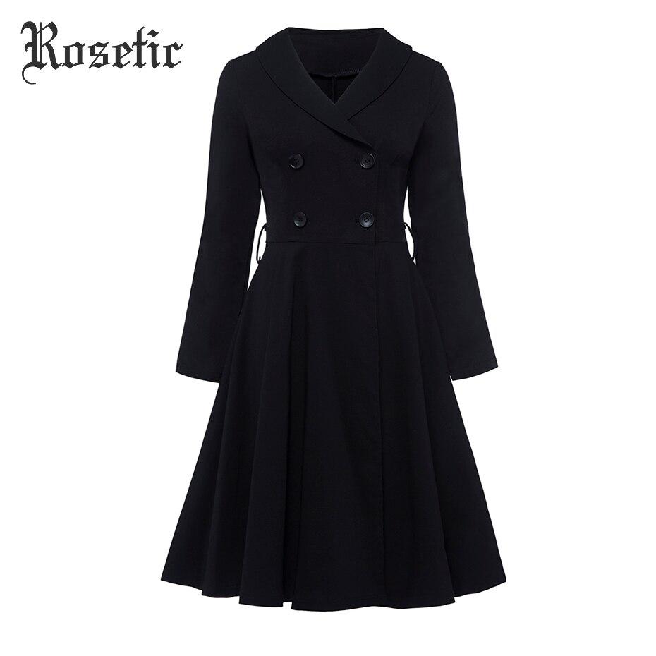 Rosetic готическое платье Черное женское осеннее ТРАПЕЦИЕВИДНОЕ двубортное платье на пуговицах элегантное модное винтажное приталенное женс...
