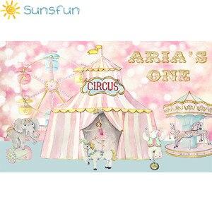 Image 3 - Sunsfun写真スタジオ資金サーカス誕生日ピンクパーティー動物カルーセル観覧車背景photocallプロ