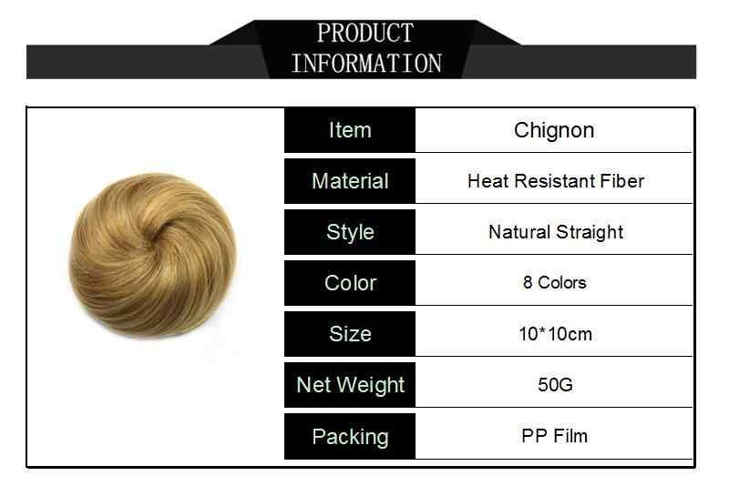 Gres fibra resistente al calor de las mujeres de la banda de goma negro/rubia/marrón moño de rosquilla sintético moño para el cabello 8 colores