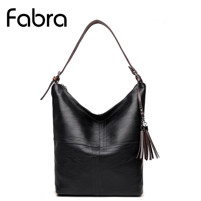 Fabra Brands Quality PU Leather Women Shoulder Messenger Bags Fashion Patchwork Handbags Women Bucket Casual Tote Bags Black classic black leather tote handbags embossed pu leather women bags shoulder handbags elegant