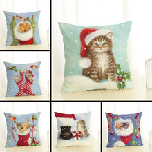 Merry Christmas Lovely Cats Dogs Cushion Covers Pillowcases Seat Sofa Pillow Cover Linen Cotton Square Cushion Cover Party Decor linen seat cushion merry christmas pillow cover