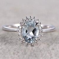 7x9mm Oval Natural Aquamarine Ring Topaz Engagement Ring Plain White Gold Flower Blue Stone Gemstone Promise