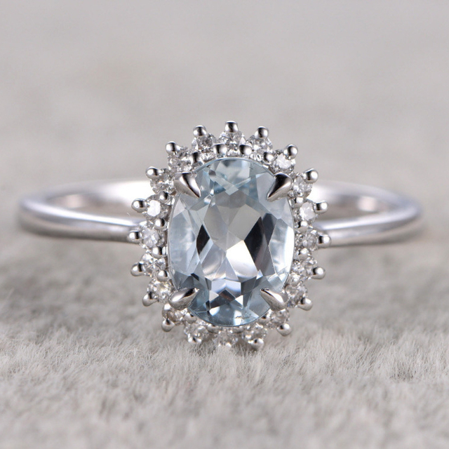 a47a523a16bc5 US $658.8  Ring For Women 7x9mm Natural Aquamarine Ring wedding set White  Topaz side stone Engagement Ring 14K White Gold Gemstone Ring -in Rings  from ...