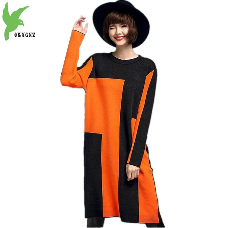Tricot Couture Blue 2017 Taille Plus orange Col Classique Yellow Pull Dernière La Robes Okxgnz En Lâche gray Rond Printemps Femmes H043 Robe dark Automne dqxgSdvn0