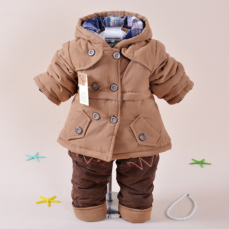 2015 boys clothes winter warm fashion children clothing sets long sleeve hooded coat Thicken outwear+pant child clothing