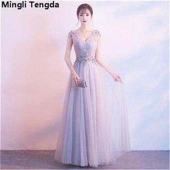 45408cee69 Mingli Tengda Champagne gris con cuello en V vestidos de dama de largo  vestido de