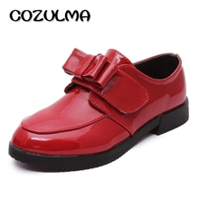 COZULMA Autumn Kids Causal Shoes Girls Patent Leather Princess Bow Dance Fashion Sneaker Size 31-36