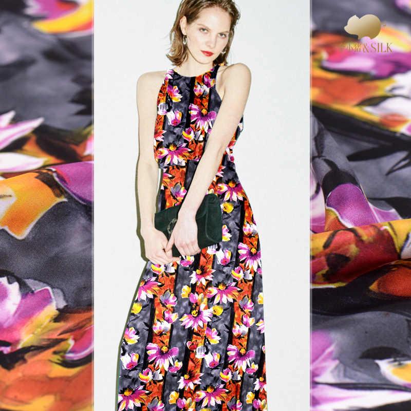 30 мм тяжелые шелковые ткани креп 114 см цифровой струйной модное платье шелковой