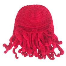 Новый Ручной Вязание Шерсть Смешные Борода Зимние Осьминог Шляпы и шапки Крючком Шапочки Унисекс Подарок Красный