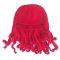 Nueva Lanas que hace punto Divertido Barba Invierno Pulpo Hecho A Mano Crochet las Gorritas Tejidas Del Sombrero y Del casquillo Unisex de Regalo Rojo