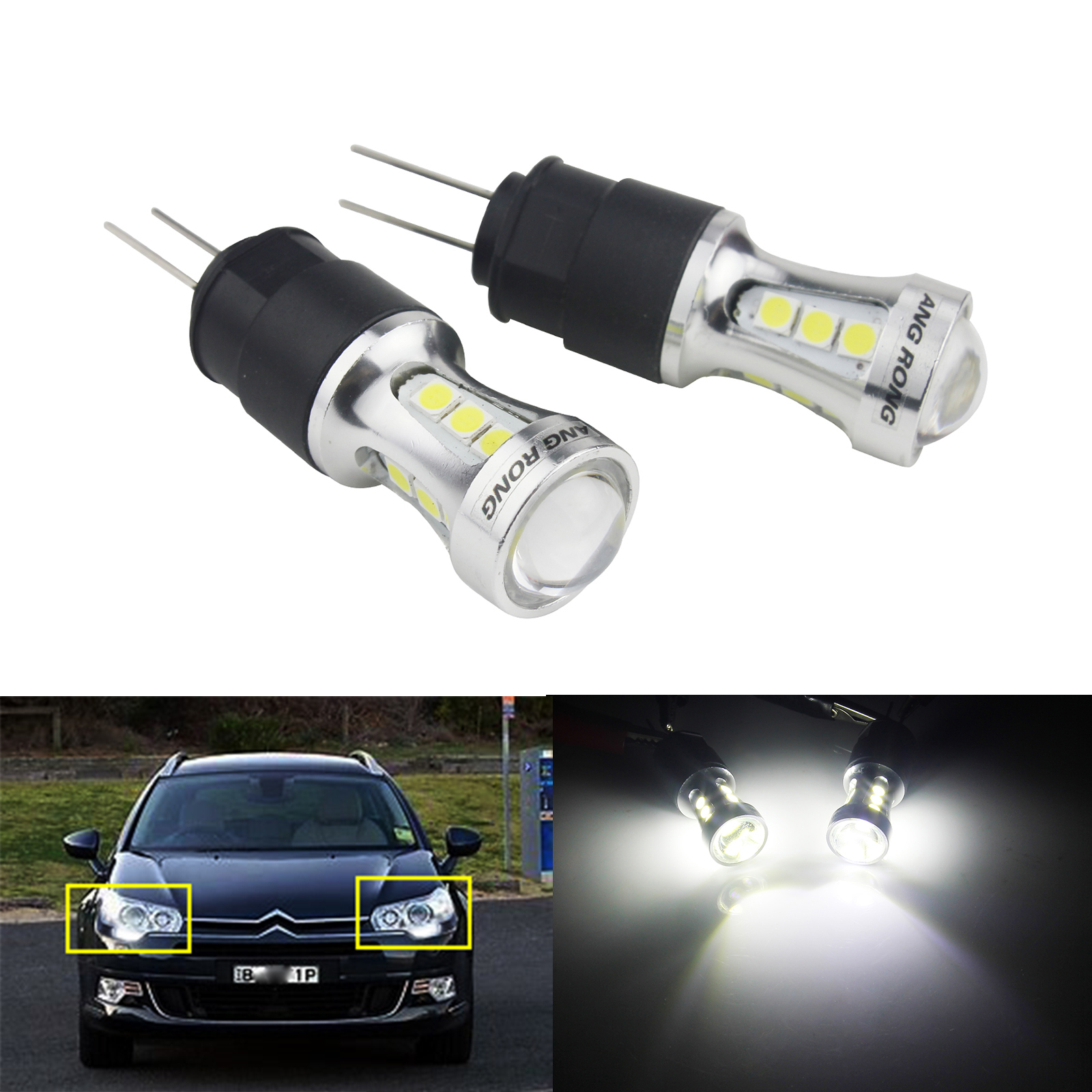 ANGRONG 2x HP24W G4 Bulb 18 SMD LED Car Day Lights Lamp DRL For Citron C5 For Peugeot 3008 5008 free ship g4 hp24w 9w amber white led daytime running lights for cars peugeot 3008 led drl light