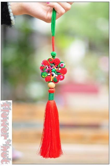 Chinese knot dream catcher fabric doll bead tassel flower gadget for ...