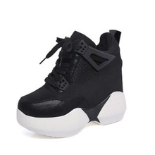 Women's Heels Black Platform Shoes 11CM Girls Ladies Pumps Chaussures Sport Wedges