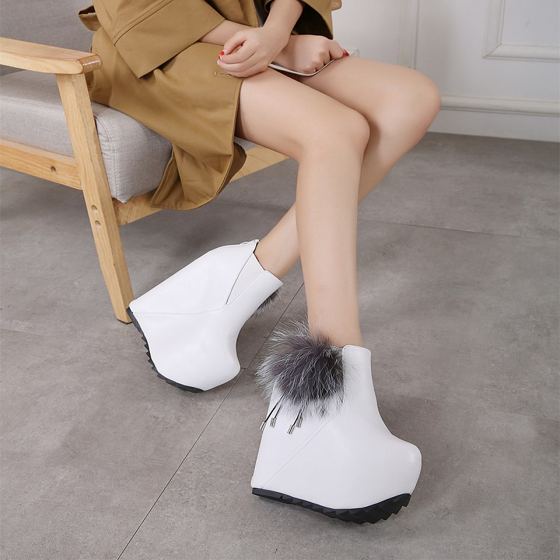 Fashion new women's shoes 16cm hate days high inside the muffin thick bottom fur ball wedges ankle boots