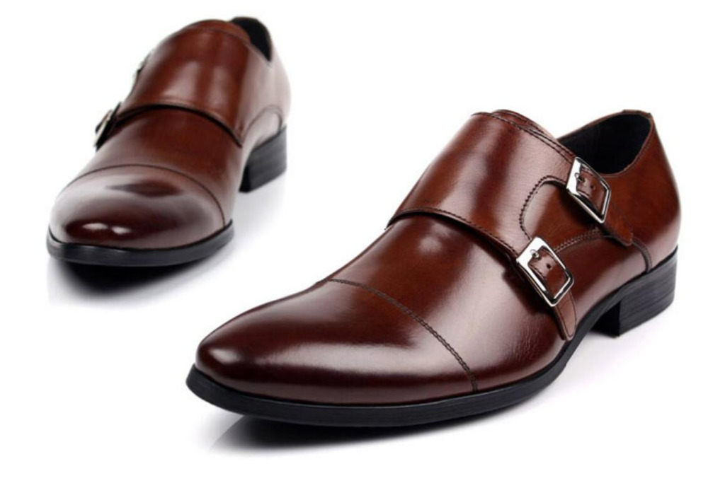 2b4b0e17b98c7 Robe Chaussures De En Mariage Italie Véritable Cuir Homme Bal 2018 Cadeau  Sangle Double 1 Hommes Moine Brun Richelieus ...