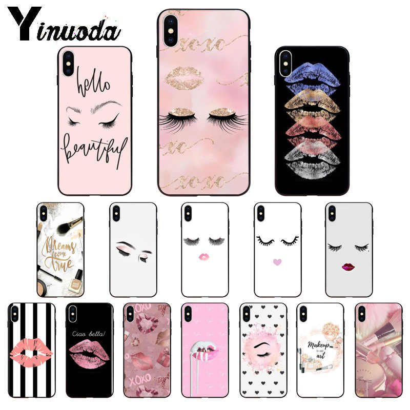 Yinuoda Bulu Mata Makeup Bibir TPU Soft Phone Aksesoris Ponsel Case untuk Apple Iphone 8 7 6 6S PLUS X XS Max 5 5S SE XR Cover