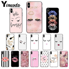 Yinuoda eyelash Makeup Lip TPU Soft Phone Accessories Cell Phone Case for Apple iPhone 8 7 6 6S Plus X XS MAX 5 5S SE XR Cover yinuoda animals dogs dachshund soft tpu phone case for apple iphone 8 7 6 6s plus x xs max 5 5s se xr mobile cover