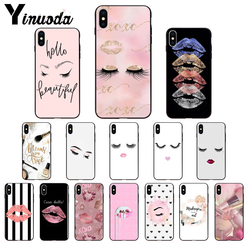Yinuoda eyelash Makeup Lip TPU Soft Phone Accessories Cell Phone Case for Apple iPhone 8 7 6 6S Plus X XS MAX 5 5S SE XR Cover