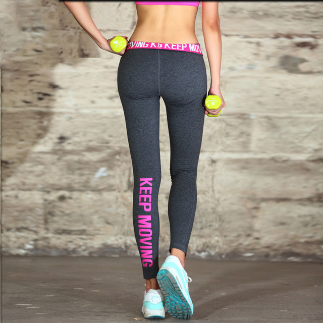 2016 Women Sexy Legging Low Waist Sportswear Sporting Leggings Slim Quick Dry Letter Female Push Up Deportiva Leggins