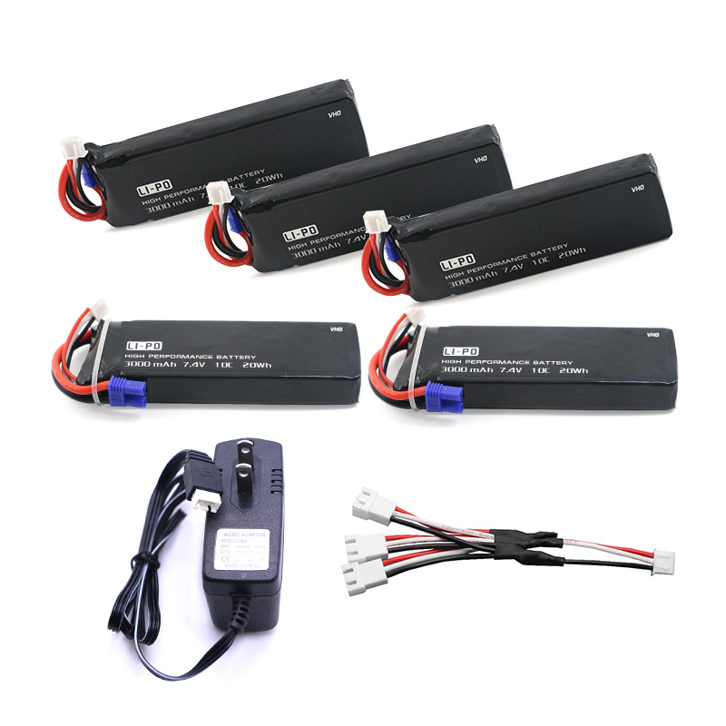 VHO 7.4V 3000mAh 10C Hubsan H501S lipo battery 5PCS + UL charger Hubsan H501C rc Quadcopter Airplane drone Spar 4pcs 7 4v 2700mah 10c hubsan h501s lipo battery batteies with cable for charger hubsan h501c rc quadcopter airplane drone spar
