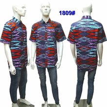 Custom Fit Ankara Wax Shirt African Mens Shirts Dashiki Short Sleeve Top Lapel for Men Printed  L-3XL 1805