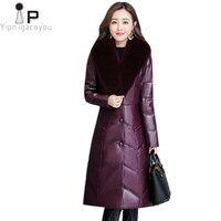 Зима теплая длинная куртка Для женщин пальто 2018 новый корейский Harajuku плюс Размеры Пальто Black Fox верхняя одежда с меховым воротником Для женщ