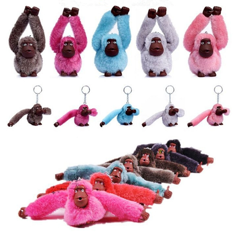 Fashion Cute Faux Rex Fur Monkey Plush Toy Key Ring Chain Animal Pendant Woman Bag Charms Pompom Car Keychain Party Trinket Gift